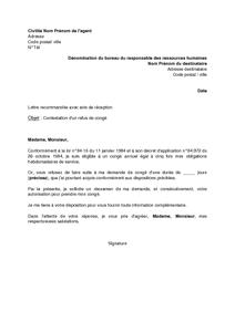 Lettre De Contestation D Un Refus De Conge Par L Agent Public