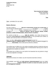 Lettre De Contestation D Un Vice Caché Sur Un Véhicule D