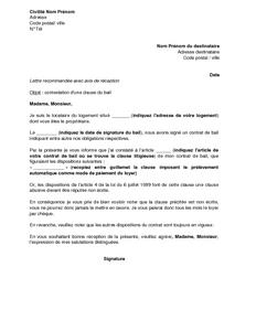 mode lettre Exemple gratuit de Lettre contestation une clause bail imposant  mode lettre