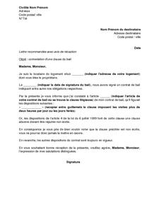 Lettre De Contestation D Une Clause Du Bail Imposant Des Visites