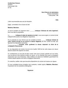 Lettre De Contestation D Une Clause Du Bail Imposant Une Compagnie D