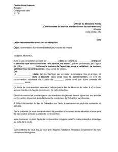 lettre de contestation d 39 une contravention pour exc s de vitesse absence de mention du lieu de. Black Bedroom Furniture Sets. Home Design Ideas