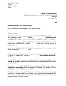 lettre de contestation d 39 une contravention pour exc s de. Black Bedroom Furniture Sets. Home Design Ideas