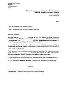 Exemple Gratuit De Lettre Contestation Une Decision Exclusion