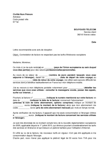Exemple gratuit de Lettre contestation une facture