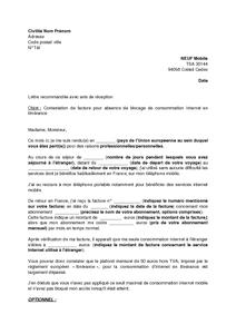 Exemple Gratuit De Lettre Contestation Une Facture Neuf Mobile