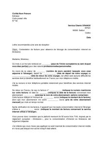 modeles de lettres lettre contestation d une facture orange pour absence blocage la consommation internet mobile a l etranger