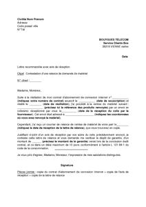 Lettre de contestation d 39 une relance par bouygues telecom demandant la restitution du mat riel - Lettre restitution caution avec retenue ...
