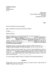 Lettre de contestation d 39 une relance par dartybox demandant la restitution du mat riel modem - Lettre restitution caution avec retenue ...
