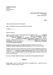 exemple de lettre de réclamation sfr Lettre de contestation d'une relance par NEUF SFR demandant la  exemple de lettre de réclamation sfr