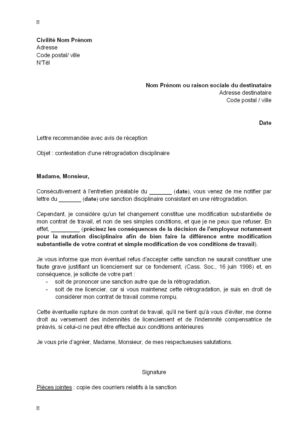 exemple gratuit de lettre contestation une r u00e9trogradation disciplinaire