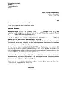 Exemple Gratuit De Lettre Contestation Degradations Retenues Dans