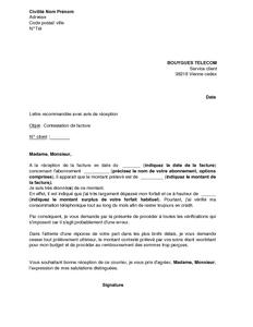 Exemple Gratuit De Lettre Contestation Facture Bouygues