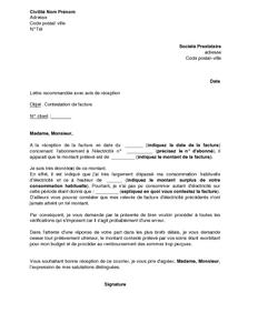 Exemple Gratuit De Lettre Contestation Facture électricité