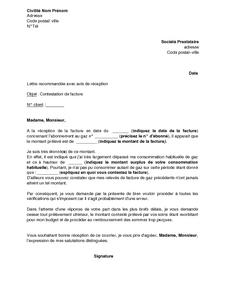 Exemple Gratuit De Lettre Contestation Facture Gaz