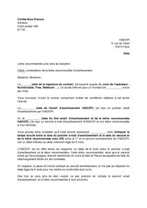 Exemple gratuit de Lettre contestation lettre recommandée hadopi non respect délai minimum légal