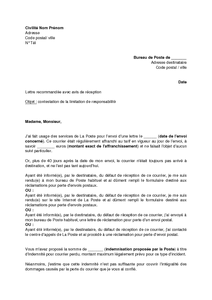 Exemple gratuit de lettre contestation limitation for La poste demenagement suivi de courrier