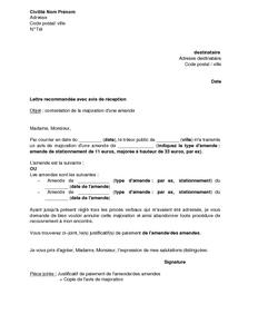 Exemple gratuit de Lettre contestation majoration une amende et envoi justificatif paiement
