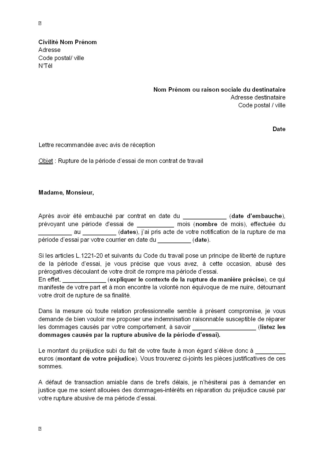Lettre De Contestation De La Rupture De La Periode D Essai Pour Abus