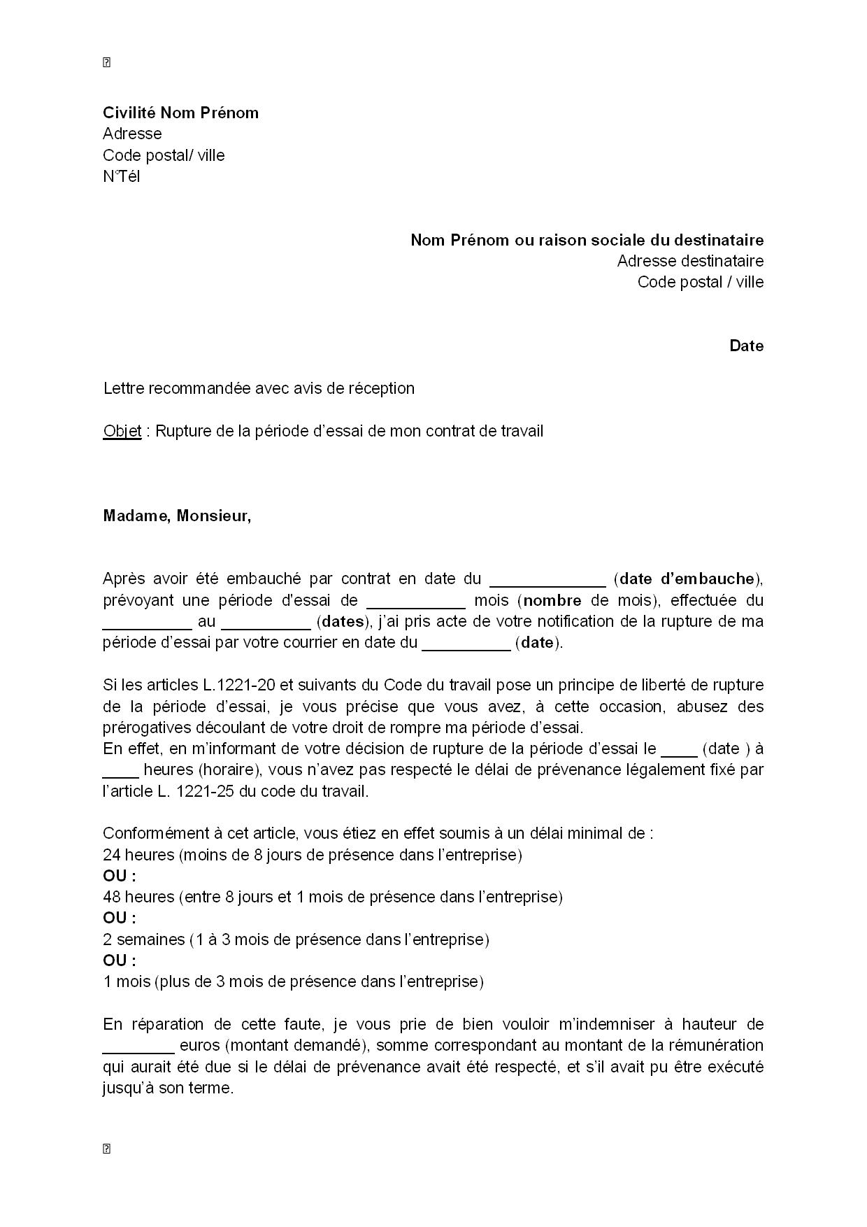 Super Lettre de contestation de la rupture de la période d'essai pour  ID43