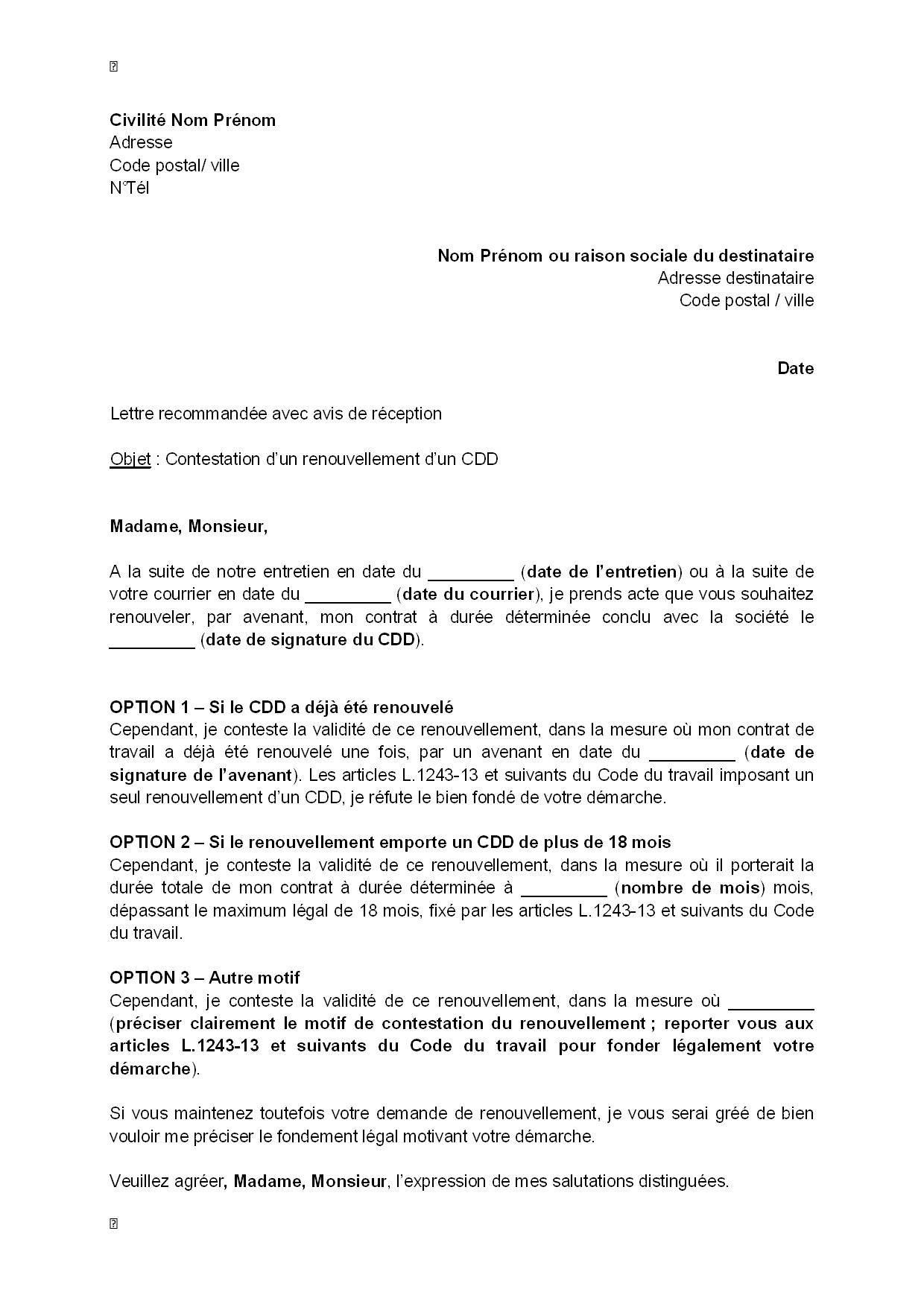 exemple gratuit de lettre contestation renouvellement un cdd