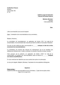 Lettre De Contestation Des Recommandations De La Commission De