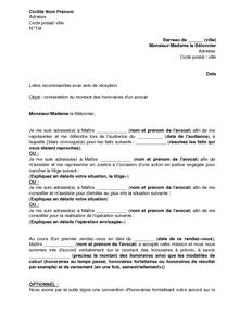 Lettre De Contestation Du Montant Des Honoraires D Un Avocat