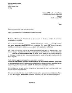 Exemple Gratuit De Lettre Contestation Refus Attribution