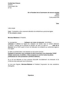 Exemple Gratuit De Lettre Contestation Refus Allocation Solidarite