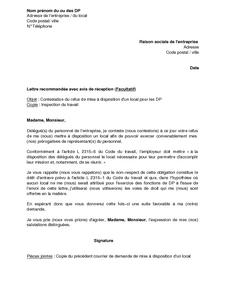 80f79ee7f88 Lettre de contestation du refus de l employeur de mettre un local à ...