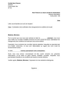 Lettre De Contestation Par Le Salarie De La Notification Du