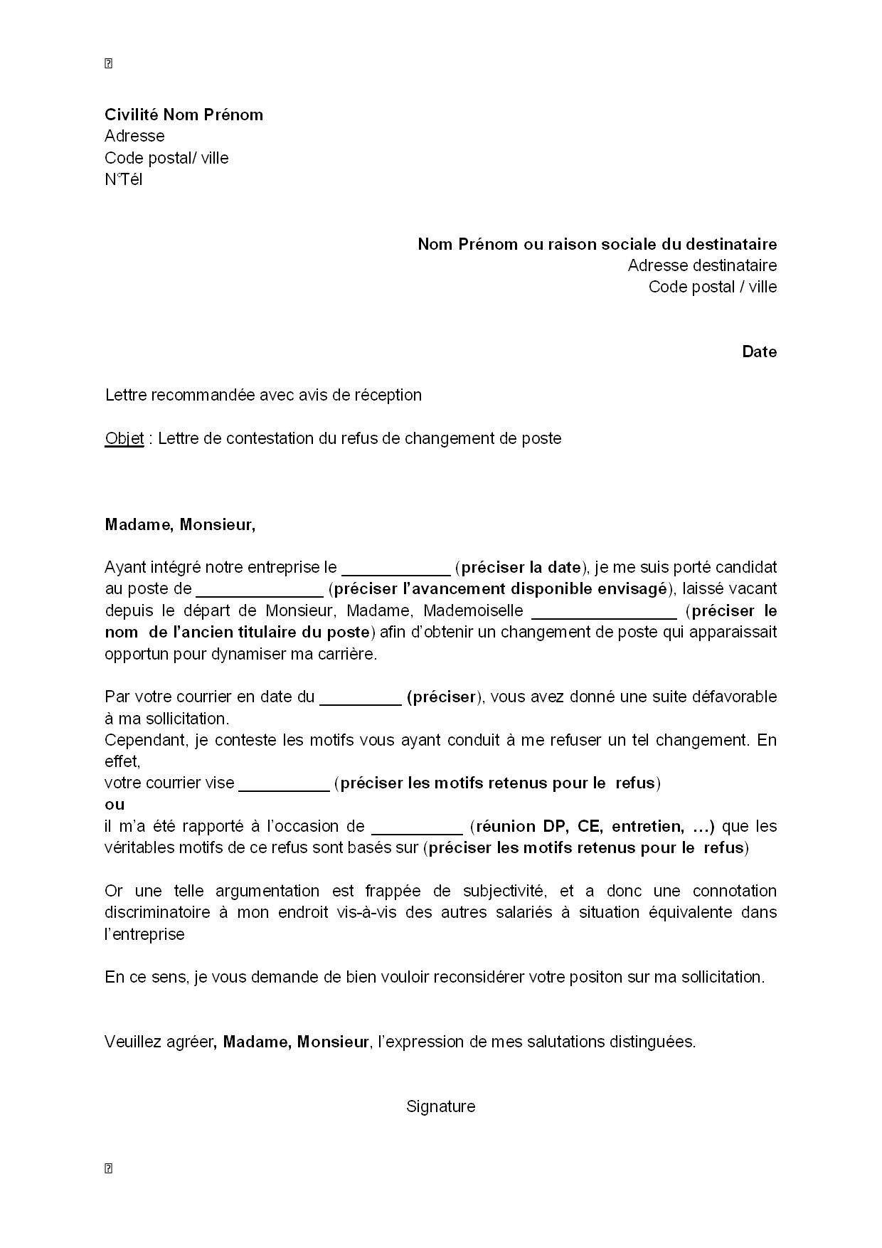 modele lettre de motivation changement de service
