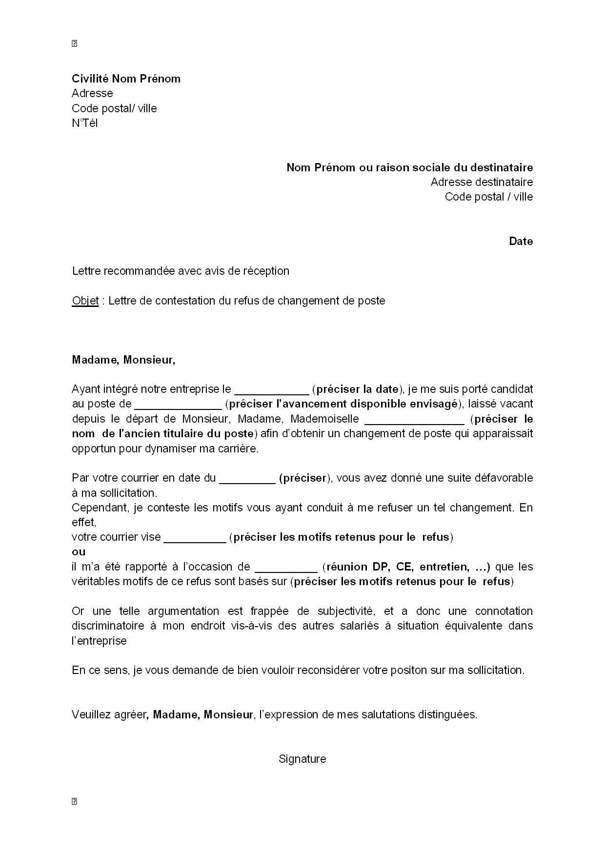 lettre de contestation  par le salari u00e9  du refus de