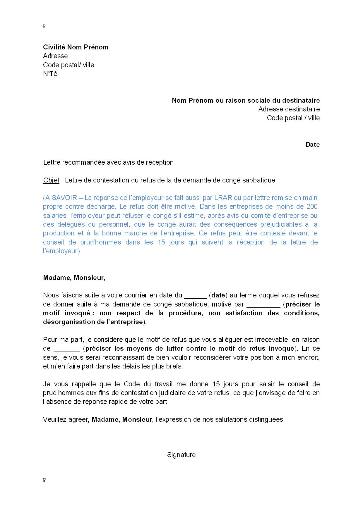lettre de demission conseiller prud homme Lettre de contestation, par le salarié, du refus de la demande de  lettre de demission conseiller prud homme