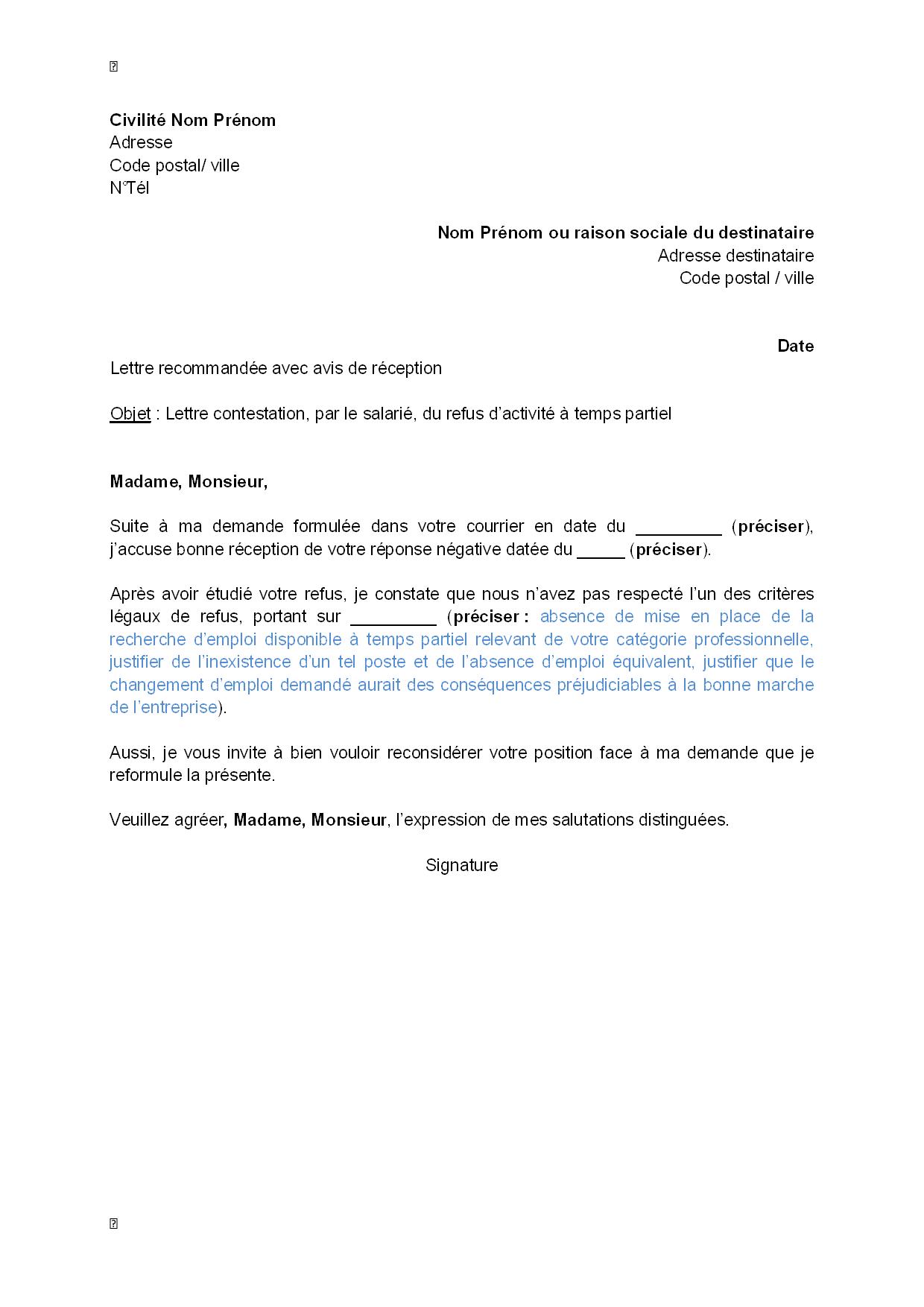 Lettre De Contestation Par Le Salarié Du Refus De