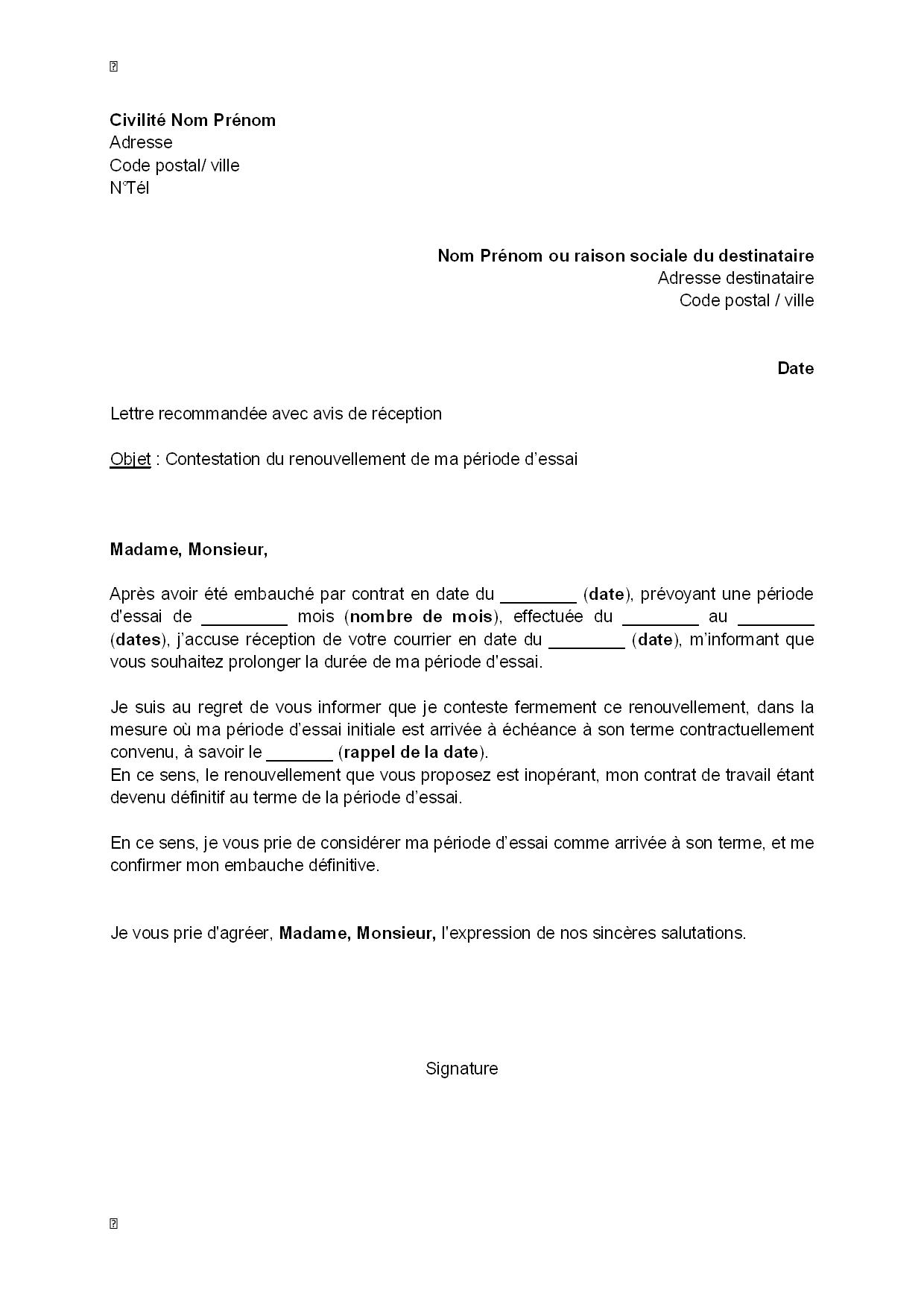 Modele Lettre Fin De Periode D Essai Salarie Exemples De