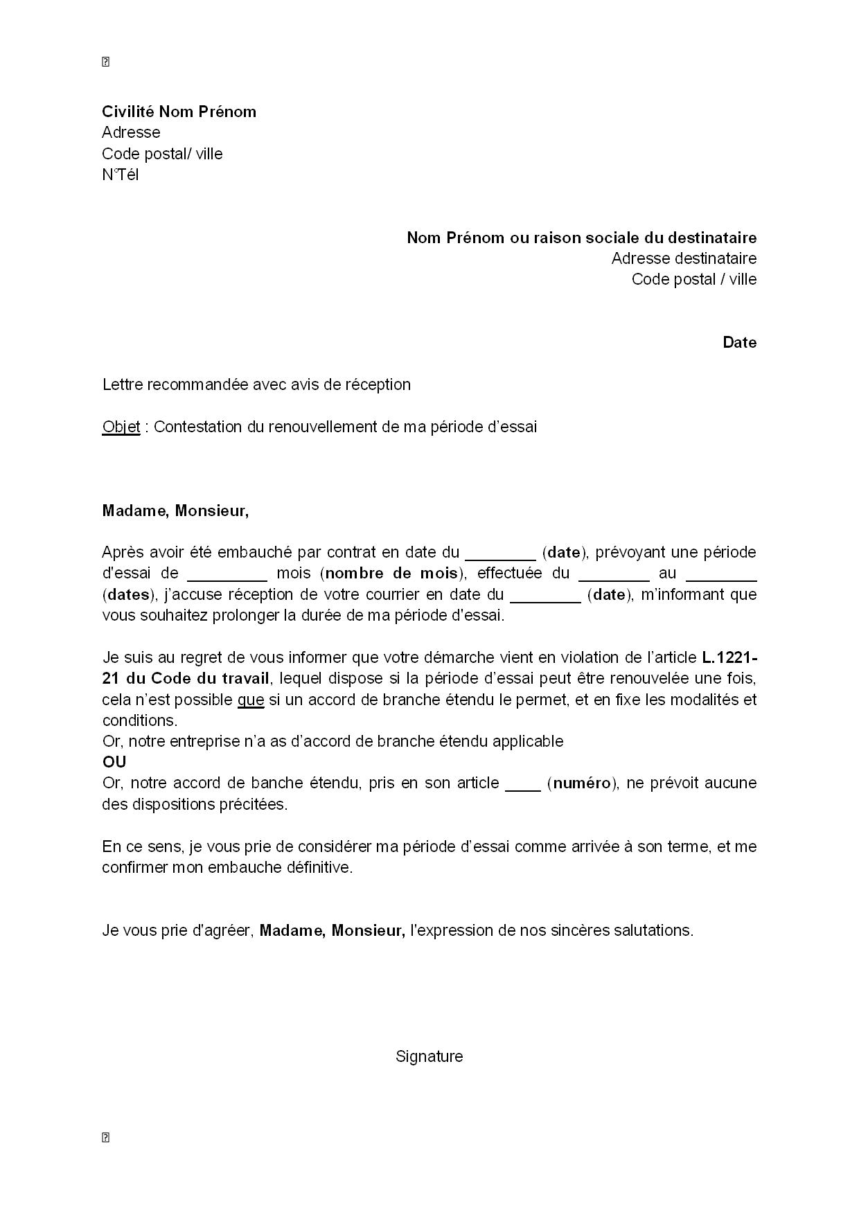 Lettre De Contestation Par Le Salarie Du Renouvellement De Sa