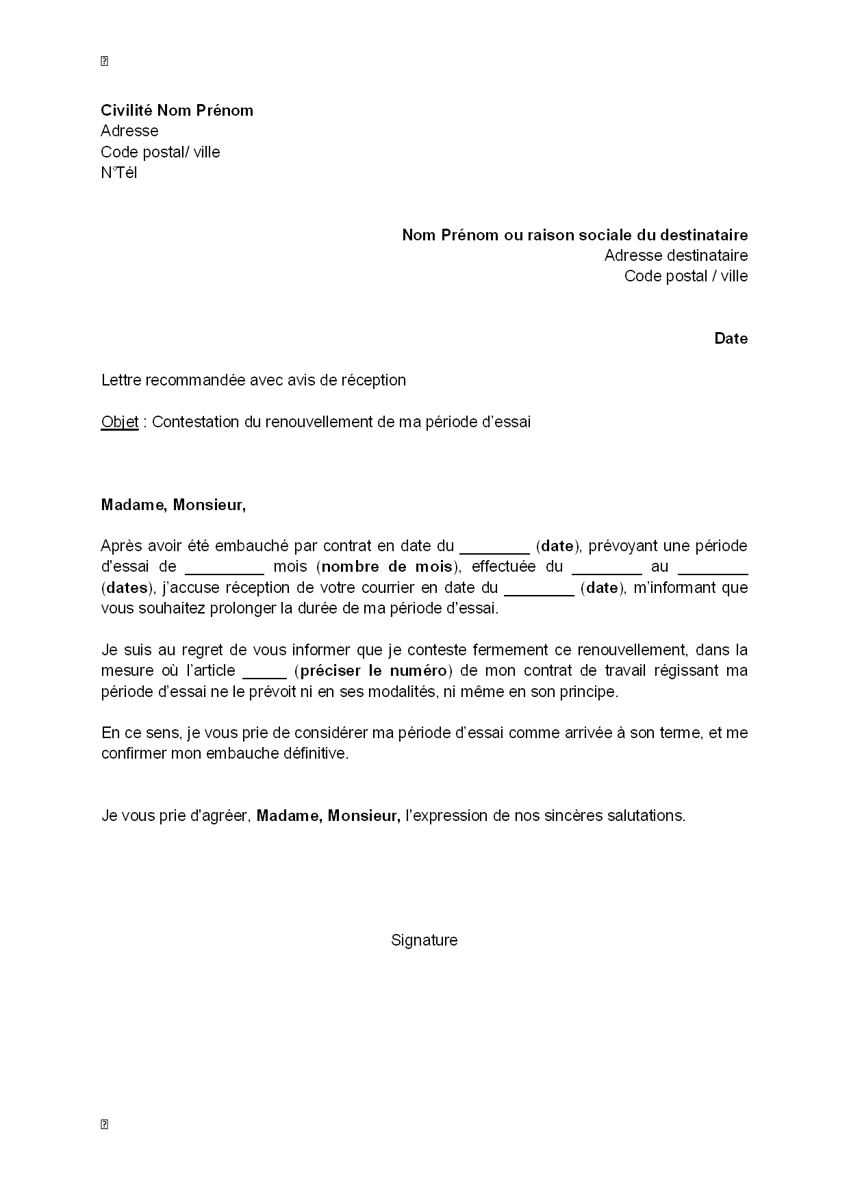 lettre de contestation  par le salari u00e9  du renouvellement