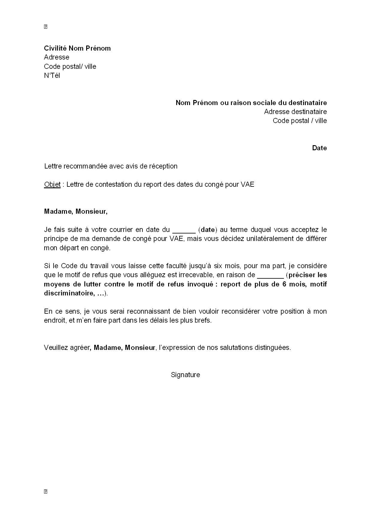 exemple gratuit de lettre contestation  par salari u00e9  report dates cong u00e9 vae