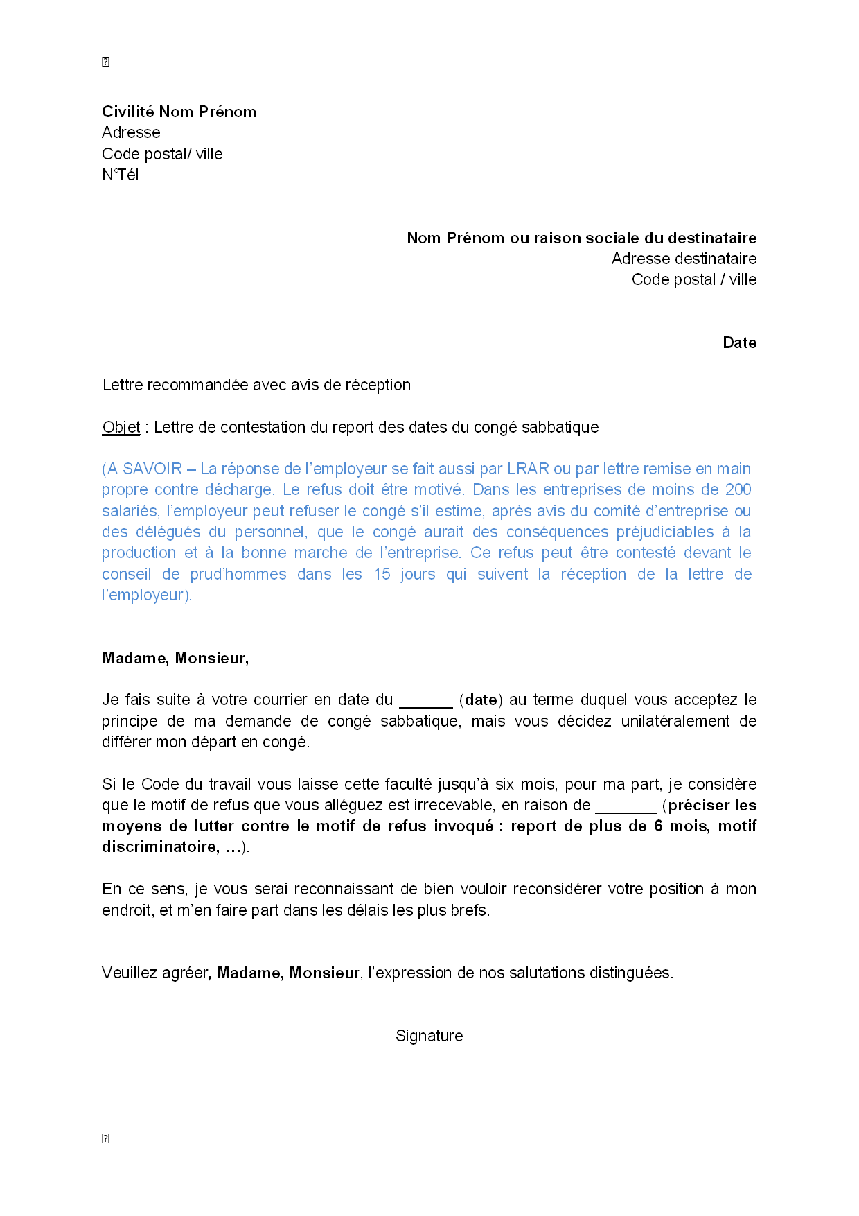 lettre de contestation  par le salari u00e9  du report des