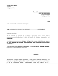 lettre de demission d une association