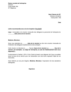 convocation des delegues du personnel