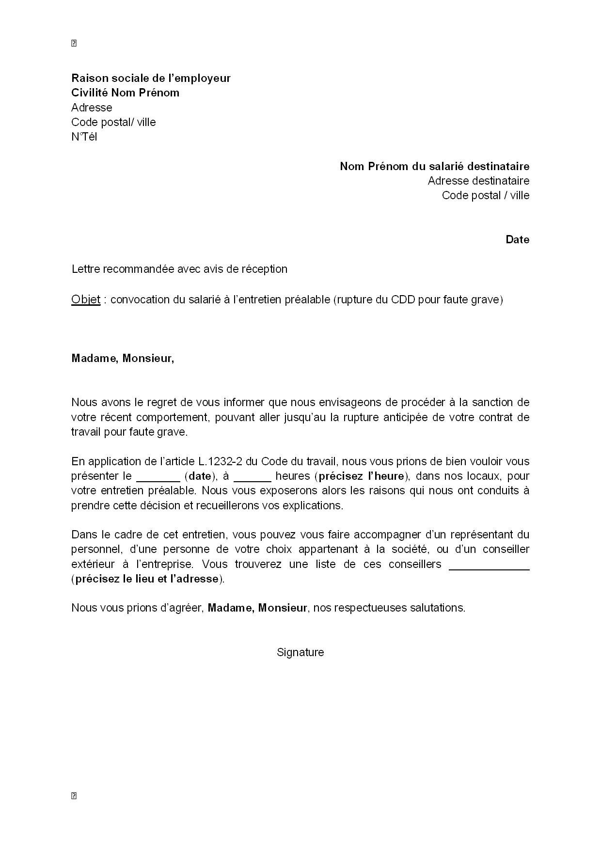 lettre de convocation du salari u00e9  u00e0 l u0026 39 entretien pr u00e9alable