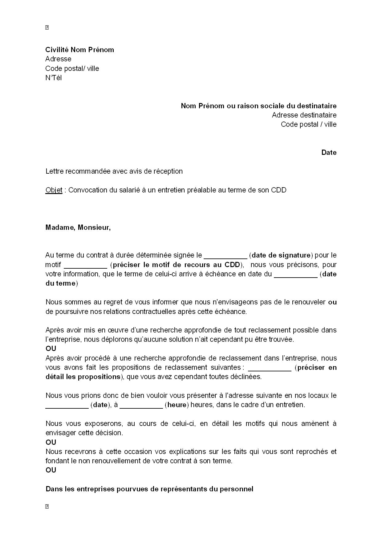 exemple gratuit de lettre convocation salarie  entretien