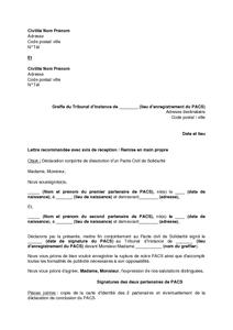 Lettre De Declaration Conjointe De Dissolution D Un Pacte Civil De