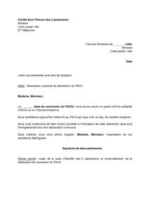 Lettre De Declaration Conjointe De Dissolution Du Pacs Aupres Du Greffe Modele De Lettre Gratuit Exemple De Lettre Type Documentissime
