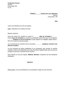 Lettre De Declaration D Un Accident Du Travail Par Le Salarie A La