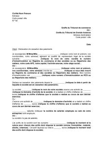 Lettre de déclaration de cessation des paiements - modèle de lettre gratuit, exemple de lettre ...