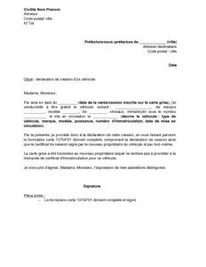Exemple Gratuit De Lettre Déclaration Cession Un Véhicule