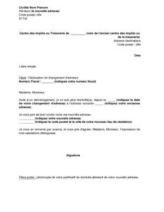 Lettre De Declaration De Changement D Adresse Aupres De L Administration Fiscale Modele De Lettre Gratuit Exemple De Lettre Type Documentissime